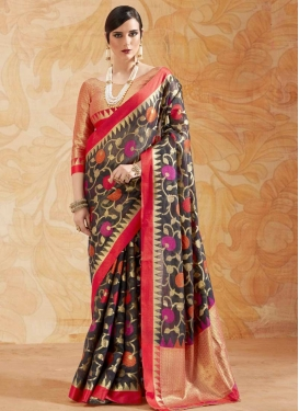 Black and Red Classic Saree