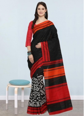 Black and Red Classic Saree For Casual
