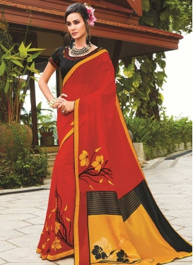 Black and Red Contemporary Saree For Casual