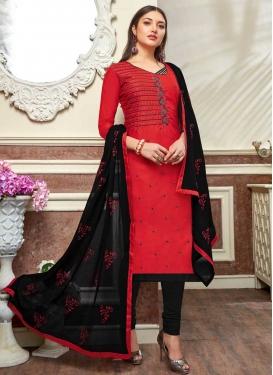 Black and Red Cotton Churidar Salwar Kameez