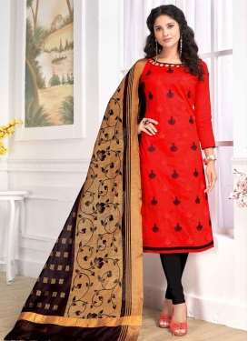 Black and Red Cotton Trendy Churidar Salwar Suit