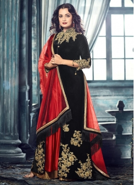 Black and Red Dia Mirza Long Length Designer Suit