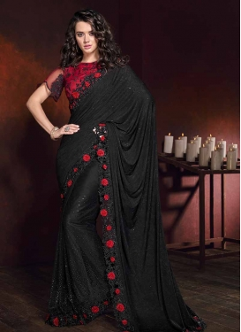 Black and Red Embroidered Work Designer Contemporary Saree