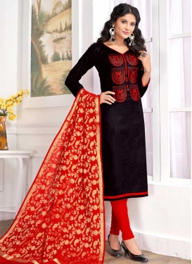 Black and Red Embroidered Work Trendy Churidar Suit