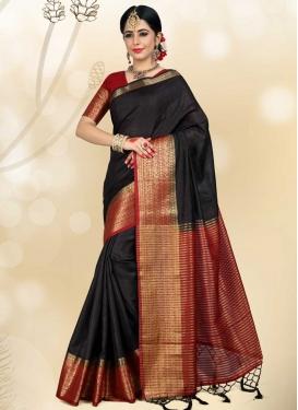 Black and Red Jacquard Silk Designer Traditional Saree