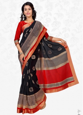 Black and Red Lace Work Cotton Silk Trendy Classic Saree