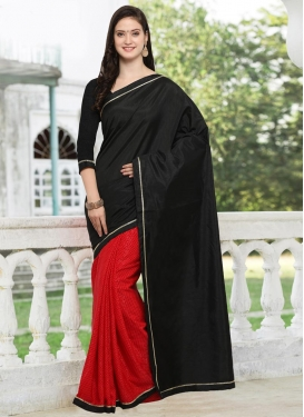 Black and Red Lace Work  Half N Half Trendy Saree