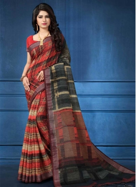 Black and Red Linen Trendy Classic Saree
