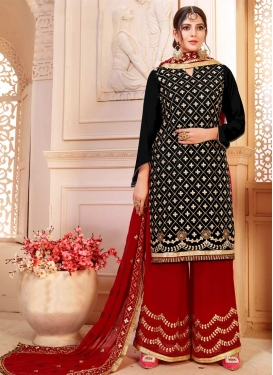 Black and Red Sharara Salwar Suit For Festival