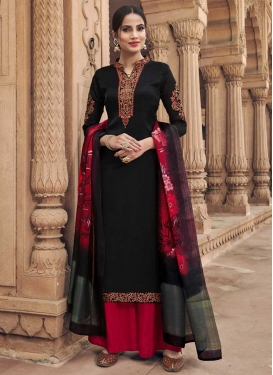 Black and Red Silk Georgette Palazzo Style Pakistani Salwar Kameez