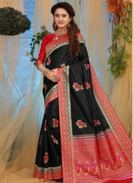Black and Red Thread Work Classic Saree