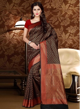 Black and Red Thread Work Contemporary Style Saree