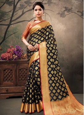 Black and Red Thread Work Designer Contemporary Style Saree