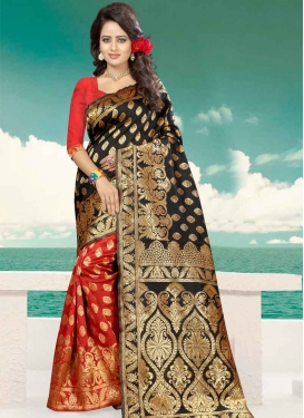 Black and Red Thread Work Half N Half Trendy Saree