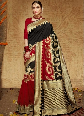 Black and Red Thread Work Kanjivaram Silk Trendy Saree