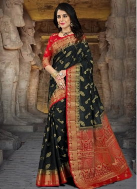 Black and Red Thread Work Trendy Classic Saree