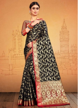 Black and Red Traditional Designer Saree For Ceremonial