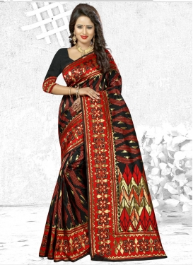 Black and Red Traditional Saree For Ceremonial