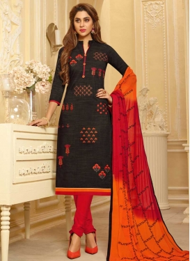 Black and Red Trendy Churidar Suit For Ceremonial