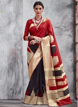 Black and Red Trendy Classic Saree