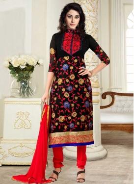 Black and Red Trendy Straight Salwar Kameez For Ceremonial