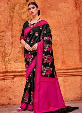 Black and Rose Pink  Art Silk Classic Saree