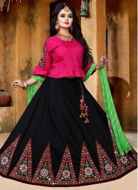 Black and Rose Pink Art Silk Designer A Line Lehenga Choli