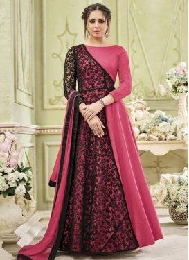 Black and Rose Pink Art Silk Long Length Designer Suit