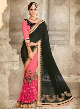 Black and Rose Pink Booti Work Half N Half Designer Saree