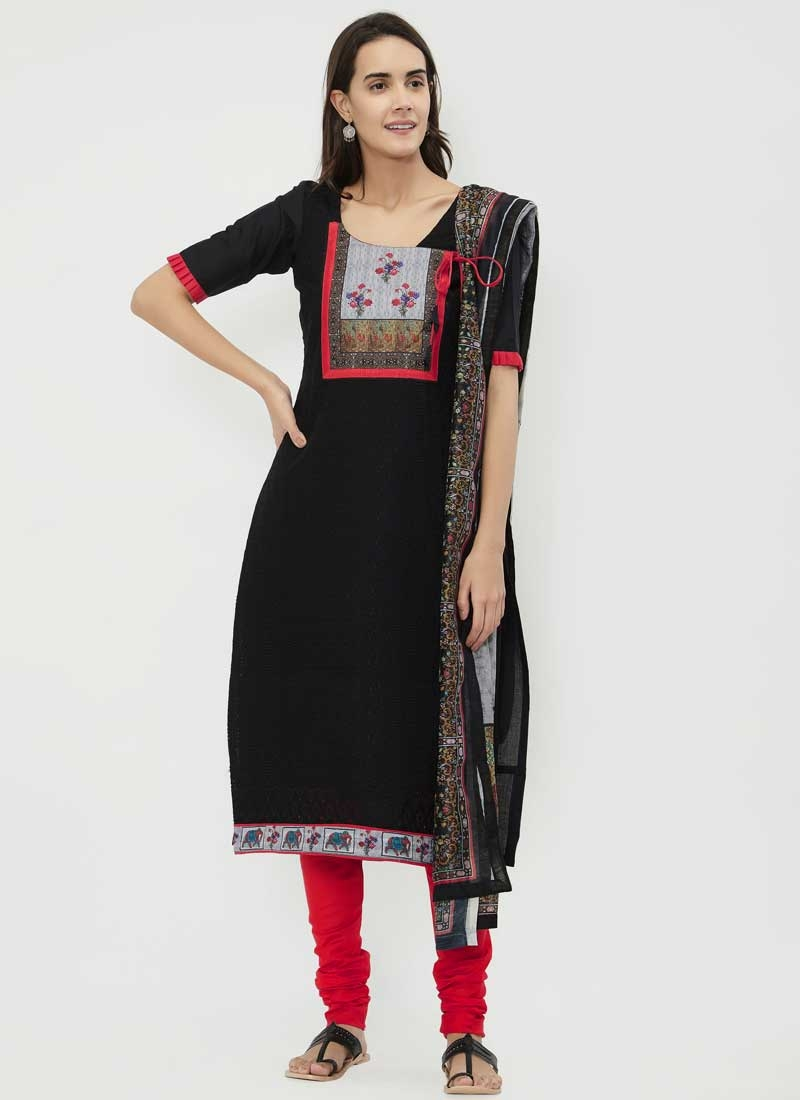 Black and Rose Pink Chanderi Cotton Trendy Churidar Salwar Kameez