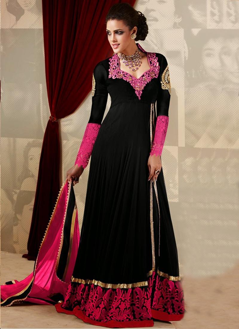 Black And Rose Pink Color Designer Salwar Kameez