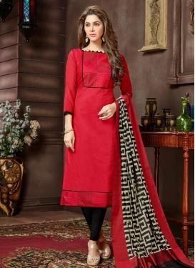 Black and Rose Pink Cotton Churidar Suit
