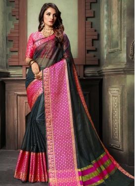Black and Rose Pink Cotton Silk Designer Traditional Saree