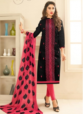 Black and Rose Pink Cotton Trendy Churidar Salwar Kameez