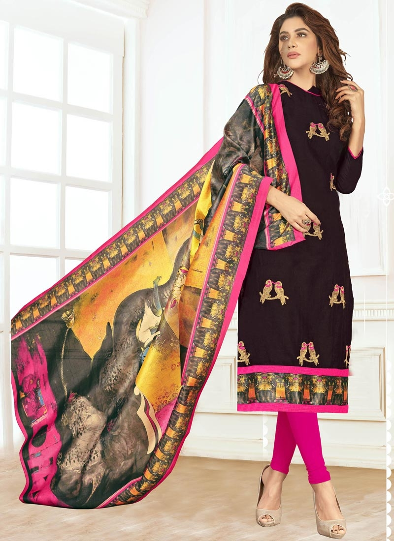 Black and Rose Pink Cotton Trendy Straight Salwar Suit