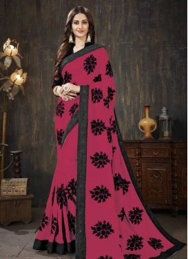 Black and Rose Pink Designer Traditional Saree For Ceremonial