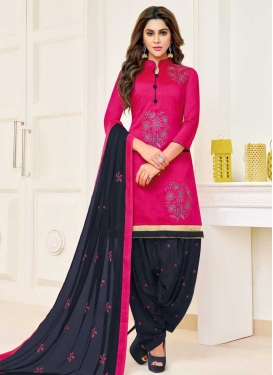 Black and Rose Pink Embroidered Work Patiala Salwar Kameez