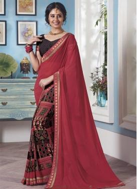 Black and Rose Pink Lace Work Half N Half Saree