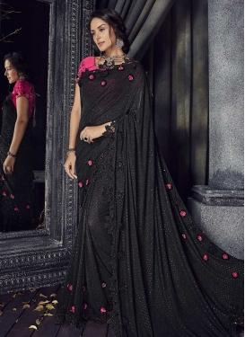 Black and Rose Pink Lycra Trendy Designer Saree