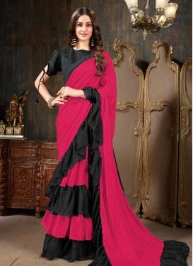 Black and Rose Pink Traditional Designer Saree