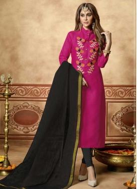 Black and Rose Pink Trendy Churidar Salwar Suit For Casual