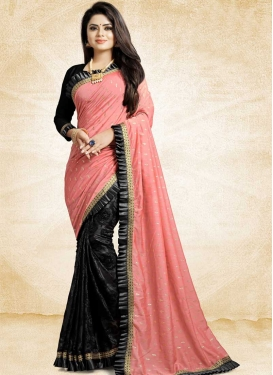 Black and Salmon Art Silk Half N Half Trendy Saree For Ceremonial