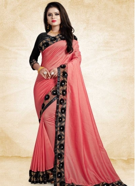 Black and Salmon Embroidered Work Classic Saree