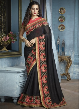 Black and Salmon Embroidered Work Faux Georgette Designer Contemporary Saree