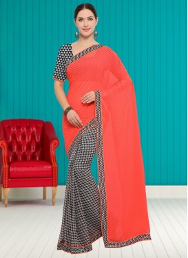 Black and Salmon Lace Work Half N Half Saree