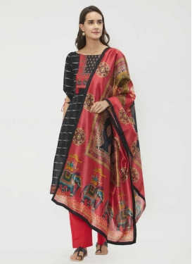 Black and Salmon Pant Style Straight Salwar Kameez