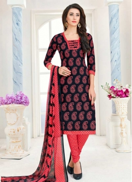 Black and Salmon Print Work Trendy Churidar Salwar Suit
