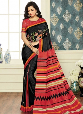 Black and Salmon Trendy Classic Saree