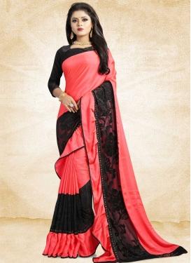 Black and Salmon Trendy Designer Saree