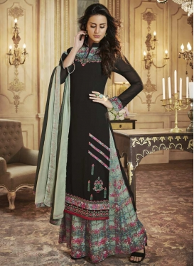 Black and Sea Green Designer Palazzo Salwar Suit